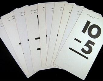 "10 Vintage FLASH Cards 3.25"" X 6.25"" Subtraction"