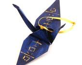 Joy Happiness Kanji Gold on Midnight Blue Handpainted Origami Crane Ornament Monaco Blue Home Decor