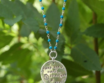 Long Sterling Silver Dandelion Turquoise Bead Necklace