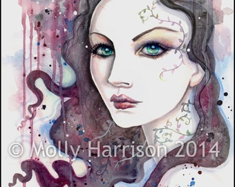 Sarah - Abstract Woman Portrait in Watercolor Fantasy Art Print by Molly Harrison