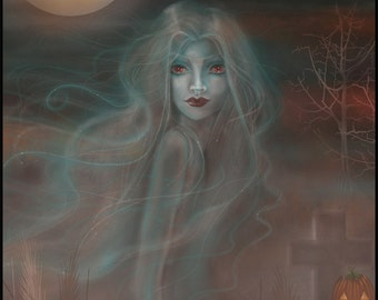 Remember Me - Digital Art Painting - Halloween Ghost Woman by Molly Harrison Fantasy Art 8 x 10