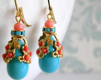 Turquoise Blue Crystal Coral Filigree Earrings