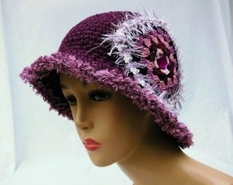Crochet hat, womens hat, purple hat, cloche hat, dressy hat, unusual hat, ladies hats, granny square