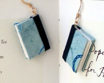 Mini Book Earrings, Blue Embroidery Book Earrings- gold