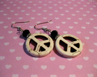 Sale! Peace Sign Dangle Earrings