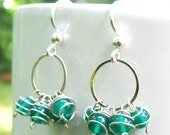 Evergreen Circle Cluster Earrings- Green Onyx and Sterling Silver