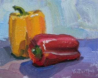 Pepper Duo  - 6 x 8 Inch Original Oil Painting of Bell Peppers - Kitchen Art - Wall Decor - Dining Room Art