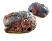 2 POWERFUL Burnt Raku Buddha Head Beads, 24mm, Buddha Bead, Zen Bead, Yoga Bead, Burnt Glaze, Oxidized Glaze, Ancient Artifact Repro. SC02