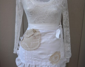 Aprons - Bridal  Aprons - Handmade White Aprons - Bridsmaids Aprons - Here Comes the Bride Apron - White Lace Apron - Annies Attic Aprons