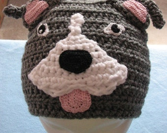 Adult Size Pit-Bull Hand Made Crochet Hat