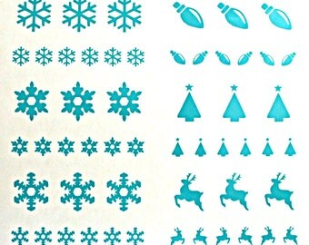 Vinyl Christmas  Stencils 2, Dichroic Glass Etching Stencils, With PDF Tutorial for Etching Dichroic Glass