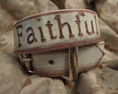 Custom Always Faithful Leather Dog Collar with USMC logo