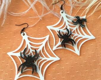 Spider Webs Acrylic Earrings