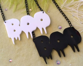 BOO Acrylic Necklace in Black or White