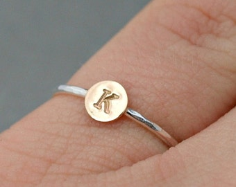 Custom Initial Ring , Mixed Metal Jewelry , Mixed Metal Stack Ring ,  Personalized Jewelry