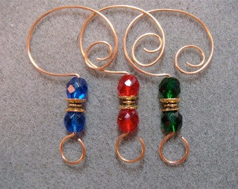 12  Ornament Hooks Hangers Enhancers for your Christmas Ornaments Faceted Glass on Gold