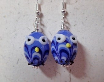 Blue and White Lampwork Glass Owl Bird Earrings  on Silver   Whooo Want  to Come to Your House
