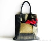 Metallic gold tote bag denim purse lurex knit pocket black leather handles cotton handbag memake handmade fashion