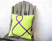 Ampersand pillow lime green cushion purple embroidered ribbon & cotton and denim cover memake handmade modern home decor