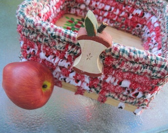 McINTOSH hand painted coiled fabric BASKET box tray with APPLE tree