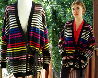RAINBOW 1980's 90's Vintage Oversized Colorful Striped Acrylic Cardigan Sweater with Ties // by SONIA RYKIEL // Made in Italy