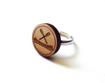 Canoe and Paddles Ring. Canoe Ring. Boat Ring. Wood Ring. Gifts Under 25. Gift for Her. Friend Gift. Girlfriend Gift. Mom Gift. Laser Cut.