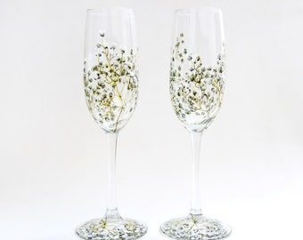 Glass Champagne Flutes, Set of 2 | Baby's Breath Collection