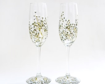 Glass Champagne Flutes, Set of 2 - Baby's Breath Collection