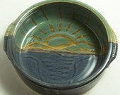 Stoneware Sunrise Sunset Brie Bowl Baker Serving Dish Casserole with handles Baker Blue Green