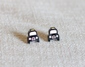 London taxi cab plastic earrings laser cut etched hand painted