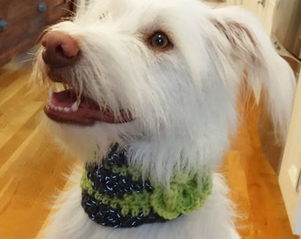 Crochet Dog Scarf Girly Dog Collar Flower Cowl for Dogs 14""