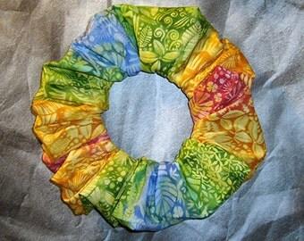 Island Shades Hair Scrunchie, Tropical Theme Hair Tie, Ponytail Holder, Tropical Foliage Fade