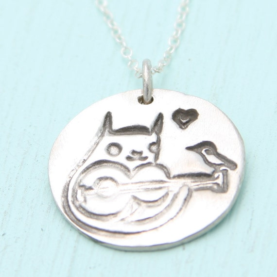 CAT WITH GUITAR necklace, eco-friendly silver, Artwork by Boygirlparty. Handcrafted by Chocolate and Steel