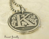 Floral Inital Wax Seal Necklace, Eco Friendly Recycled Silver, Rustic, Personalized Initial Necklace, Monogram Jewelry