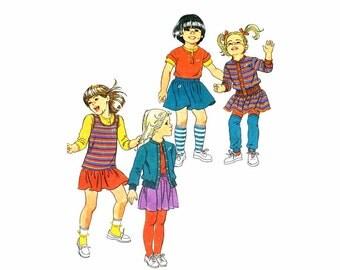 1980s Girls Mini-Skirt Top Cardigan Jacket Hang Ten Simplicity 6093 Vintage Sewing Pattern Childrens Size 4 - 5 - 6 UNCUT