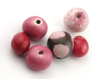 Pink beads, red beads, delicate scroll beads, Ceramic Beads, porcelain beads, stoneware beads, pottery beads, mixed beads, bead batch
