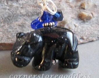 Blue Goldstone Hippo Hippopotamus Charm Zipper Pull Pendant