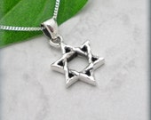 Jewish Star of David Necklace Sterling Silver Pendant Hannukah Bat Mitzvah Jewelry (SN713, 714)