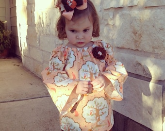 SALE Ready to Ship Woodland Creatures Fox and Owl Peasant Top and Ruffle Pant Set Size 12m