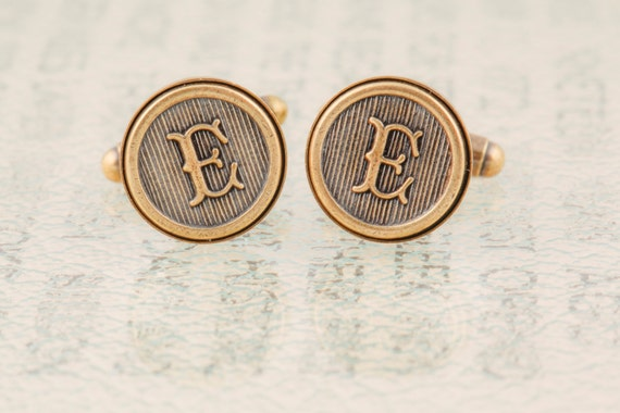 Letter E Cufflinks, or choose your initials - Custom Initial Cufflinks, Wedding Cufflinks, Groomsmens Gifts, Made to Order - Antiqued Brass