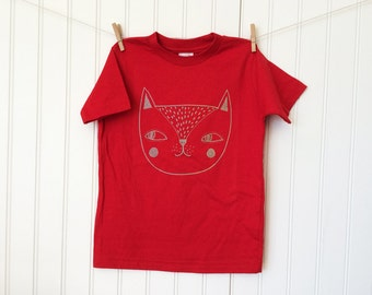 Cat T Shirt / toddler / infant /  cotton / silkscreen / unisex / 24 months