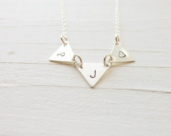 Custom Pennant Necklace in Sterling Silver Personalized Pennant Charms Triangle Bunting Jewelry Flag Necklace Tiny Triangles