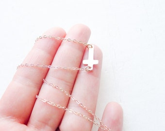 Rose Gold Sideways Cross Necklace Pink Gold Pendant Side Ways Cross Jewelry Necklaces with Crosses Rosegold Pendents Minimal Jewelry