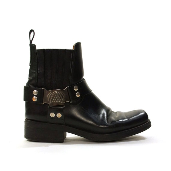 black leather motorcycle boots with ankle harness by