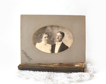 Antique Cabinet Card Young Couple Photo, Sepia Tone, Black & White Portrait Photo, Victorian Decor