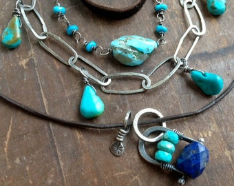 Long Silver Necklace Turquoise leather Multistrand Western Layered Necklace Charm Necklace wire wrapped Multi Strand Necklace Rustic Western