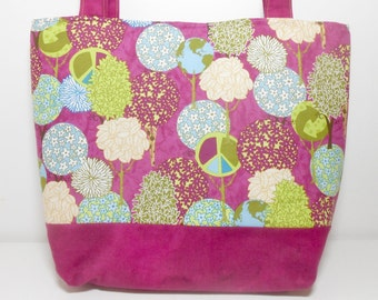 Large Tote Bag,  Peaceful Planet Plum Purple and lime, Peace Diaper Bag with Pockets
