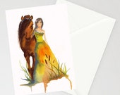 Greeting Card - WALK WITH ME - horse and woman watercolor art card on recycled paper with envelope blank inside