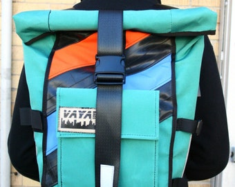Aqua Orange Blossom - Pannier/Backpack Hybrid with Recycled Bike Tubes