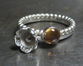 Citrine and flower silver stacking Rings - set of 2 sterling silver rings